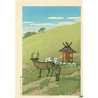 Kawase Hasui - Deer at Kasuga Shrine - Japanese Woodblock Print