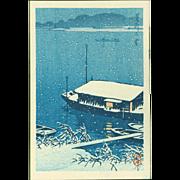 Kawase Hasui - Snow at Arakawa - Japanese Woodblock Print