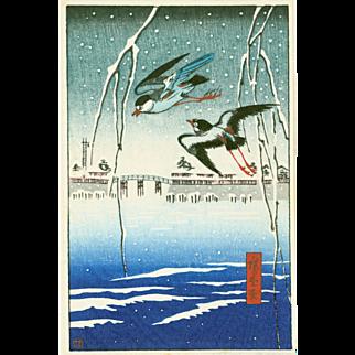 Hiroshige - Birds in Flight in Snow - Japanese Woodblock Print