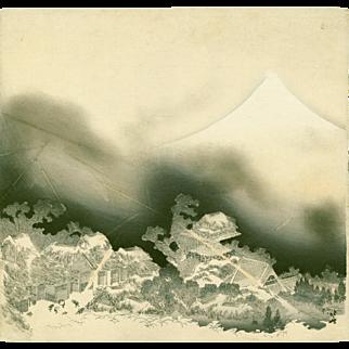 Katsushika Hokusai - Mt. Fuji in Thunderstorm - Japanese Woodblock Print