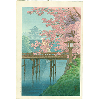 Ito Yuhan - Cherry Blossoms and Castle - Japanese Woodblock Print