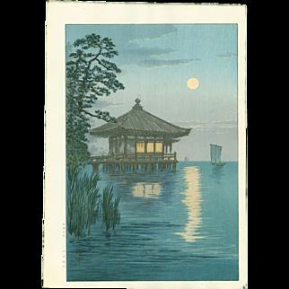 Ito Yuhan - Ukimido at Katada, Lake Biwa - Japanese Woodblock Print