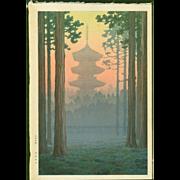 Ito Yuhan - Pagoda at Nikko - Japanese Woodblock Print