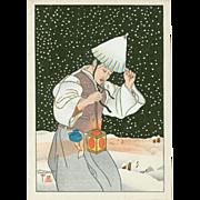 Paul Jacoulet, Nuit de Neige, Korea - Japanese Woodblock Print