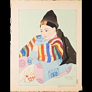 Paul Jacoulet - Korean Baby - Japanese Woodblock Print
