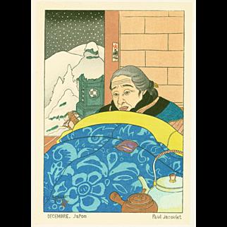 Paul Jacoulet - Decembre, Japon 1953 - Japanese Woodblock Print