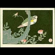 Jakuchu Ito - Bird and Rose - Japanese Woodblock Print