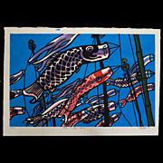 Clifton Karhu - Fish in the Sky - Japanese Woodblock Print