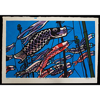 Clifton Karhu - Fish in the Sky - Japanese Woodblock Print