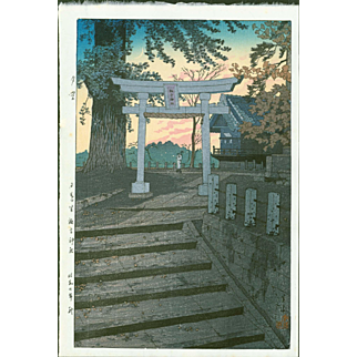 Shiro Kasamatsu - Evening Sky at Suwa Shrine - Japanese Woodblock Print