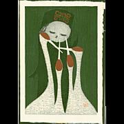 Kaoru Kawano  - Long Necks- Japanese Woodblock Print