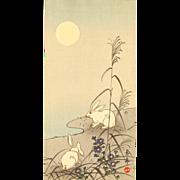 Imao Keinen - Rabbits in Moonlight - Japanese Woodblock Print