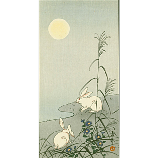 Imao Keinen - Two Rabbits in the Moonlight - Japanese Woodblock Print
