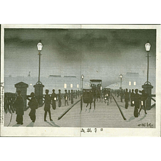 Kobayashi Kiyochika - Night at Nihonbashi, 1881 - Japanese Woodblock Print -  RARE