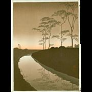 Shoda Koho - Canal by Moonlight (Hasegawa night scene) - Japanese Woodblock Print