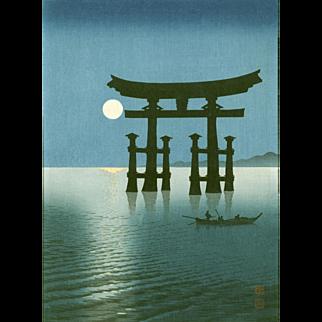 Shoda Koho - Miyajima Torii Japanese Woodblock Print  - Hasegawa Night Scene