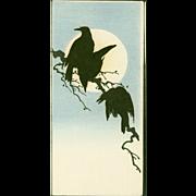Shoda Koho - Crows and Moon - Japanese Woodblock Print