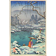 Tsuchiya Koitsu - Maruyama Park in Snow - Japanese Woodblock Print