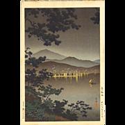Tsuchiya Koitsu - Midnight Scene at Atami - Japanese Woodblock Print