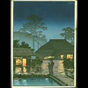 Tsuchiya Koitsu  - A Long Spell of Rain - Japanese Woodblock Print