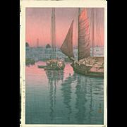 Tsuchiya Koitsu Japanese Woodblock Print - Sunset at Tomonotsu - Rare First Ed.