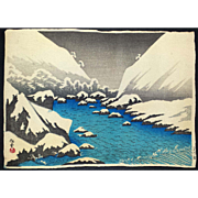 Narazaki Eisho - Futagawa River in Snow - Japanese Woodblock Print