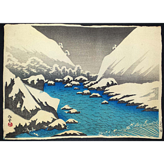Narazaki Eisho - Futagawa River in Snow - Japanese Woodblock Print