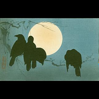 Ogata Korin - Crows and Moon - Japanese Woodblock Print