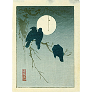 Ogata Korin - Crows and Moon - Japanese Woodblock Print