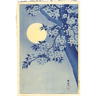 Ohara Koson - Moon and Cherry - Japanese Woodblock Print - 1st edition