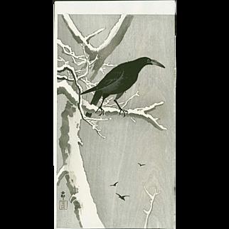 Ohara Koson - Jungle Crow on a Snowy Branch - Japanese Woodblock Print