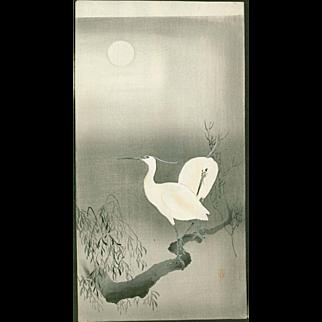 Ohara Koson - Two Egrets On a Branch - Japanese Woodblock Print - Rare