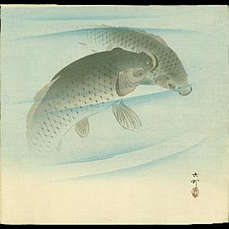 Ohara Koson - Two Carp - Japanese Woodblock Print