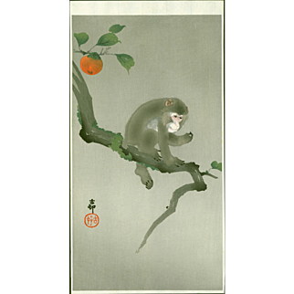 Ohara Koson - Monkey in a Persimmon Tree - Japanese Woodblock Print