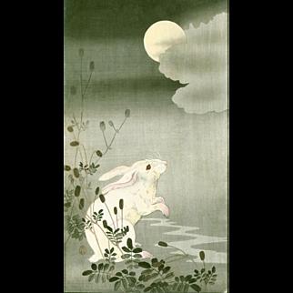 Ohara Koson - Hare and Moon Japanese Woodblock Print RARE