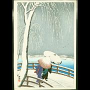 Ohara Koson (Shoson) - Snow On Willow Bridge - Japanese Woodblock Print