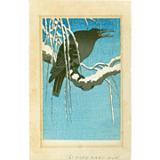 Ohara Koson - Crow on Snowy Bough - Japanese Woodblock Print - Rare