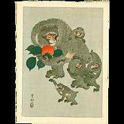 Ohara Koson (Hoson) - Monkeys and Persimmon - Japanese Woodblock Print