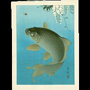 Ohara Koson - Leaping Carp and Insect - Rare Japanese Woodblock Print