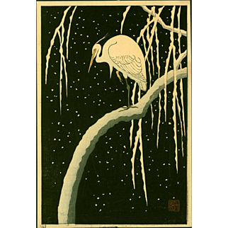 Ohara Koson (Shoson) - Egret on Snowy Branch - Japanese Woodblock Print