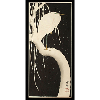 Ohara Koson (Shoson) - Egret on Snow Covered Branch - Japanese Woodblock Print