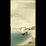 Ohara Koson - Snow-capped Mt. Fuji - Rare Japanese Woodblock Print