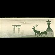 Ohara Koson - Torii, Lantern and Deer - Rare Japanese Woodblock Print