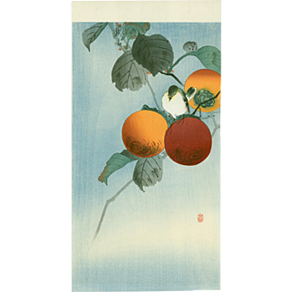 Ohara Koson - Nuthatcher Atop Persimmon - Japanese Woodblock Print