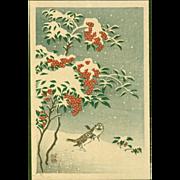 Ohara Koson - Sparrows and Nandin in Snow - Japanese Woodblock Print