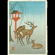 Ohara Koson - Deer and Lantern - Rare Japanese Miniature Woodblock Print