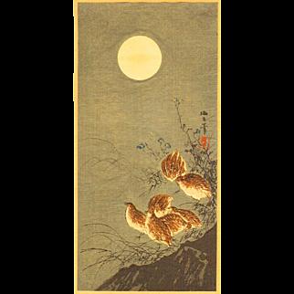 Aoki Seiko - Birds and Moon - Japanese Woodblock Print