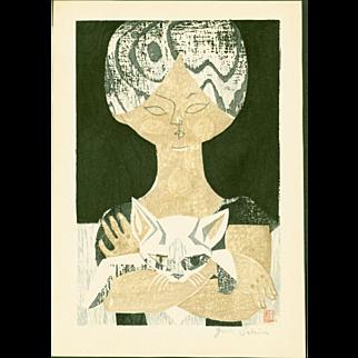 Jun Sekino - Girl With Cat - Japanese Woodblock Print