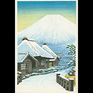 Shien Japanese Woodblock Print - Fuji and Snowy Village