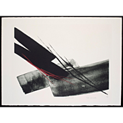 Toko Shinoda  - Autumnal - Lithograph with Red and Gray Brushstrokes